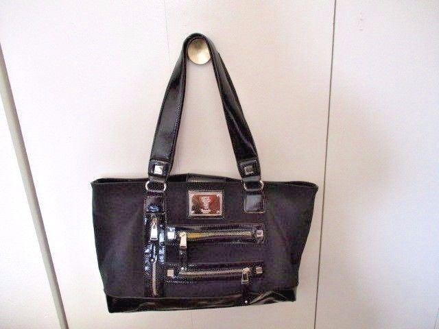 Tignanello Black Vinyl Large Shoulder Bag W Lots Of Pockets Great Shape Handbagshoulderbag
