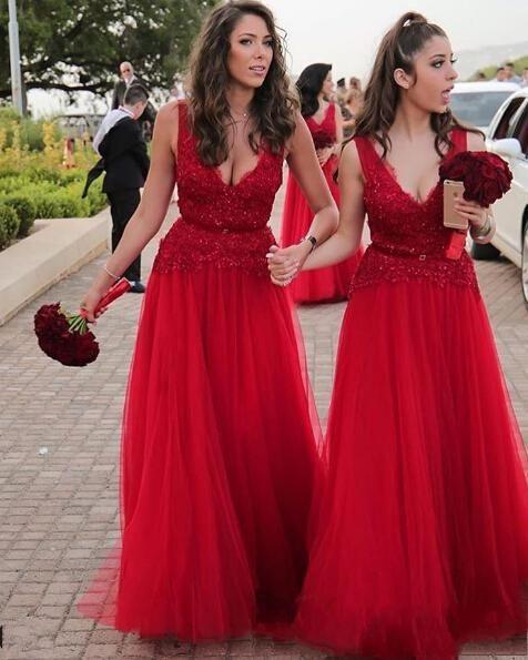 Vestidos de dama de honor color rojo quemado