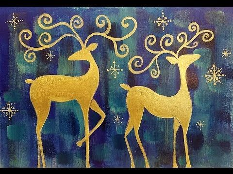 Whimsical Reindeer Acrylic Painting Tutorial LIVE Christmas Canvas Art