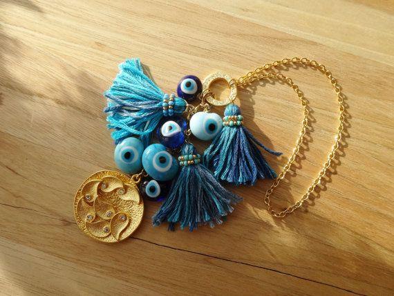 Elegant Gold Charm Evil Eye Beaded Tassel Home Decor  by cocolocca