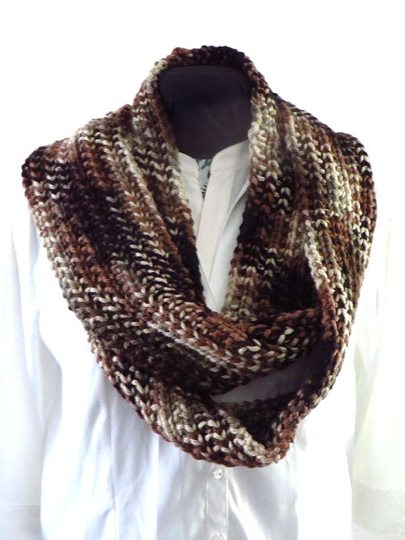 Brown Infinity Scarf Hand Knit Oversized Scarf Knitted