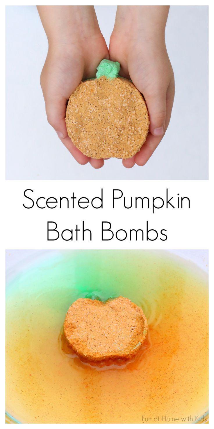 DIY Bath Bombs:  Fizzing Fall-Scented Pumpkins from Fun at Home with Kids fun kids crafts, kid ideas, #kids #diy kids diy ideas