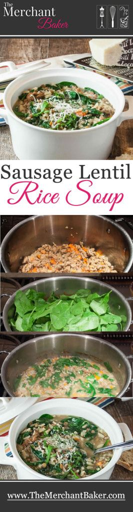 Sausage Lentil Rice Soup. A flavorful and hearty soup with Italian ...