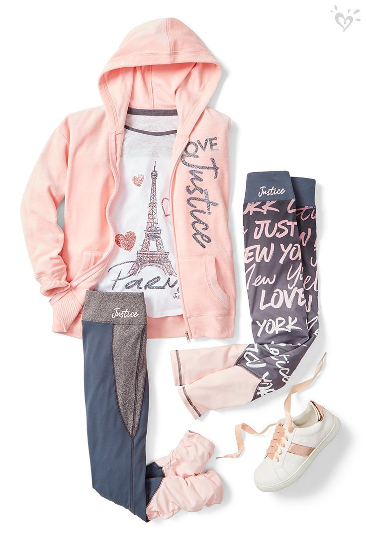 On the go in shiny graphics with pops of pink.