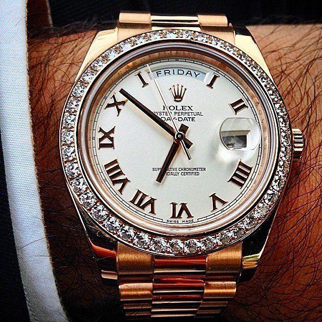(47) Fancy - Rolex Day-Date President Diamond Bezel Watch