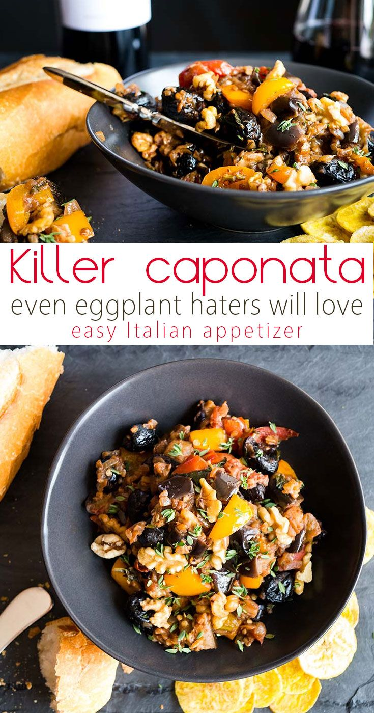 Eggplant Caponata with Walnuts and Preserved Lemon - Eggplant recipes | Caponata recipe | Vegetarian appetizers | Italian food | Caponata Siciliana