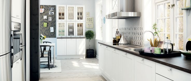 White Laxarby dark countertops