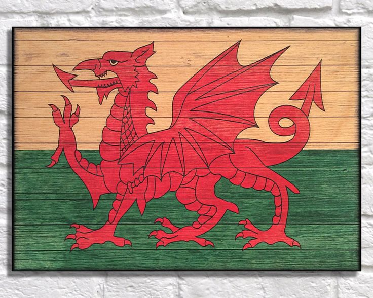 Patriotic wall decor Wales Flag Wood art wood wall art Welsh Red Dragon national flag panel effect wood print Distressed flag art print by Woodprintz on Etsy