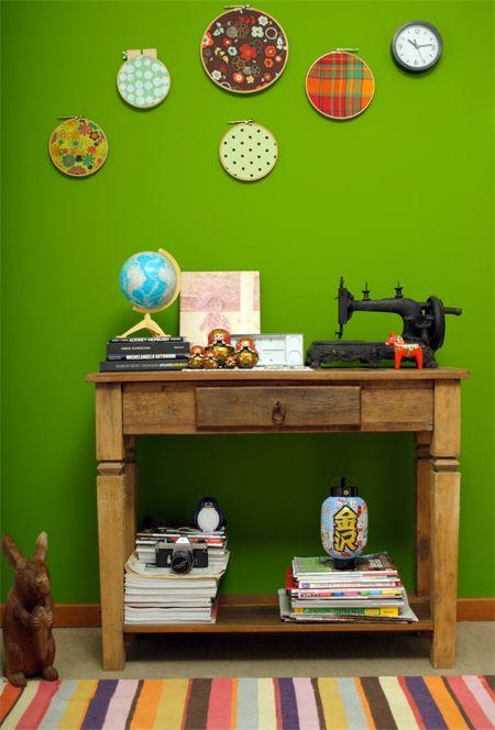 Love this room: Green Walls, Joel S Office, Design Stuffs, Color, Office Walls, Hoop Art, Artsy Walls, Malawi, Quarter
