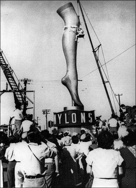 On this day (Oct. 24) in 1939, nylon stockings were sold to the public for the first time in Wilmington, Delaware, where the DuPont company was headquartered.: Nylon Stockings, Fashion History, Stockings Sold, First Time, Dupont Company, Delaware, Nylon Fabrics, Retro Vintage, Time In