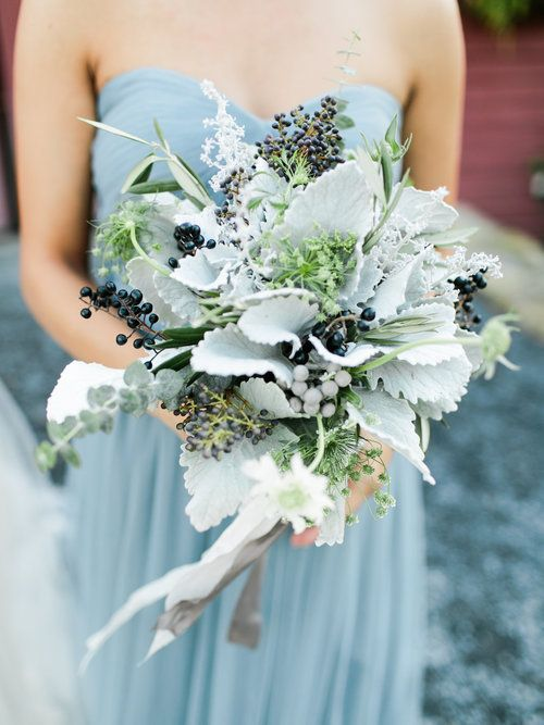 Bouquets were filled with privet berries, dusty miller, queen anne's lace, silver brunia, black pearl, eucalyptus, kochia, wild olive, lavender greens, scabiosa, wrapped with silk and willow ribbon.
