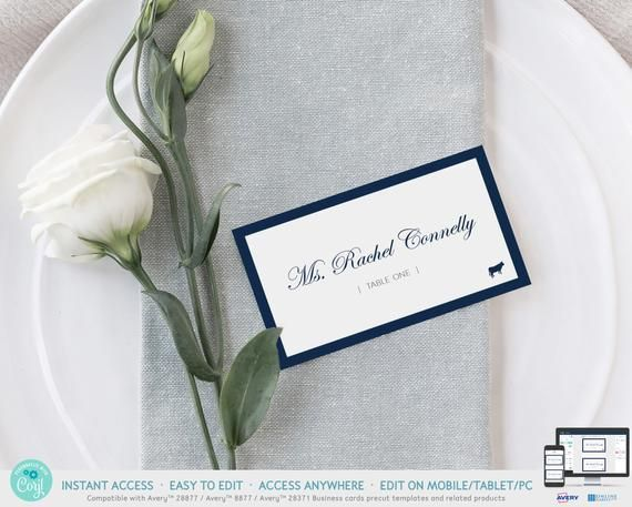 Navy Wedding Place Cards Template With Meal Choice Printable Etsy Wedding Name Cards Wedding Place Cards Wedding Name