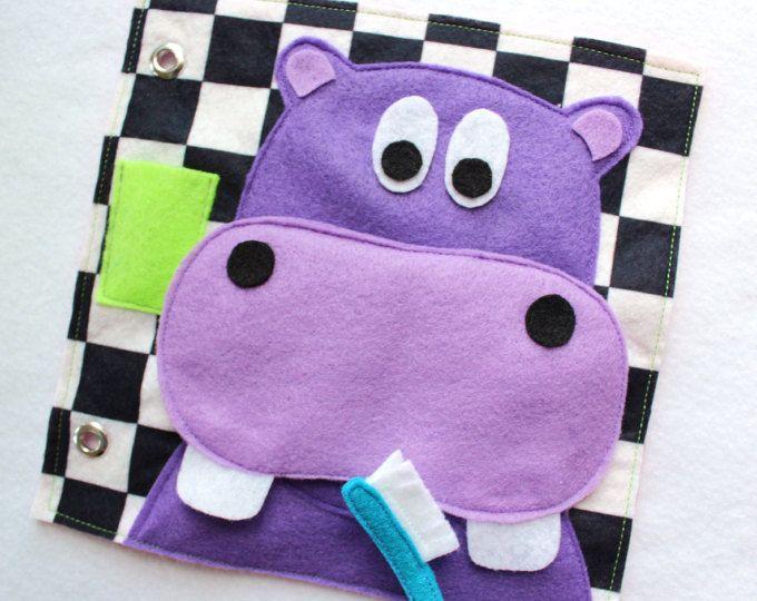 """Benutzerdefinierte handgefertigte ruhigen Buch Seite-""""Glücklich Zähneputzen Hippo"""" - Einzelseite Ihr personalisierte ruhige Buch erweitern"""