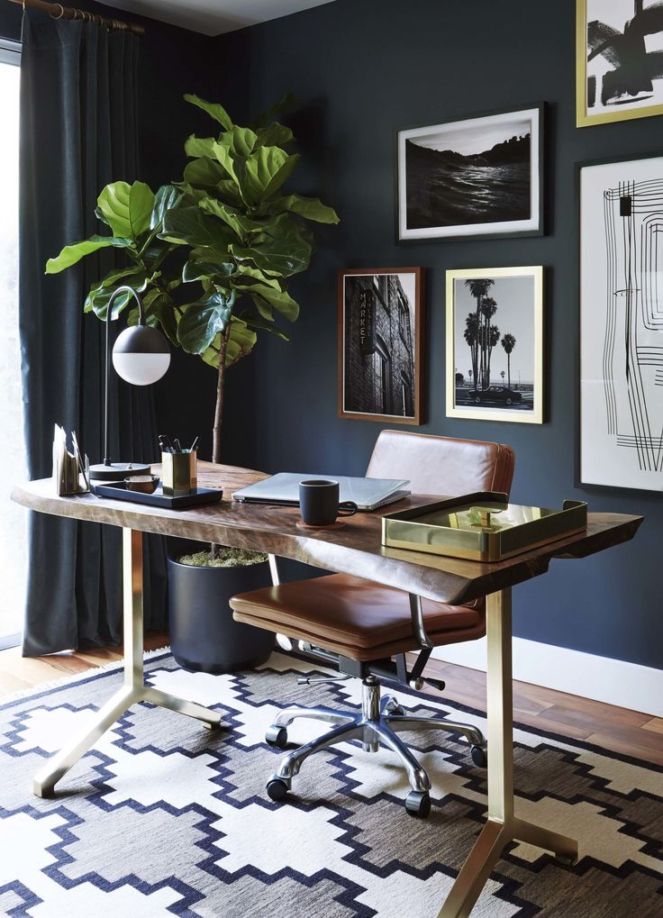Moody Mid Century Home Office