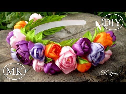 Ободок-венок с цветами, МК / DIY Hairband with Flowers / DIY Flowers Headband - YouTube