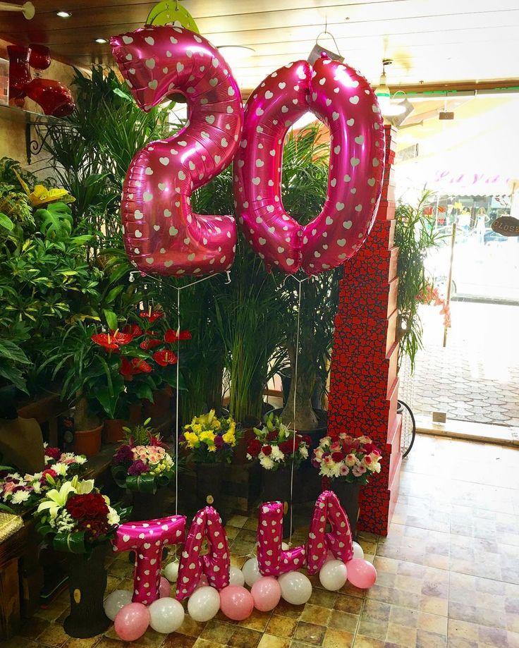 Happy 20 Birthday Tala ... #LaRoseBalloons .  .. #LaRose #Balloons #Number #Letters #Pink #White #Arrangement #النبطية #لبنان #Lebanon #Nabatieh