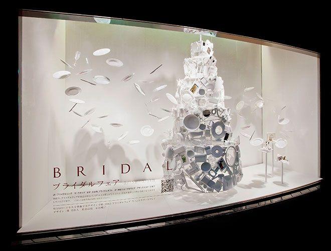 ブライダルフェアのウインドウディスプレイ「幸せのおもてなし」