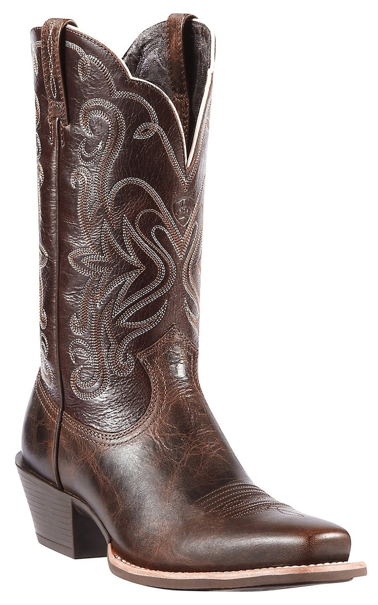 Men's Ariat Sport Outfitter, Size: 8 D, Fiddle Brown/Arizona Sky Full Grain Leather