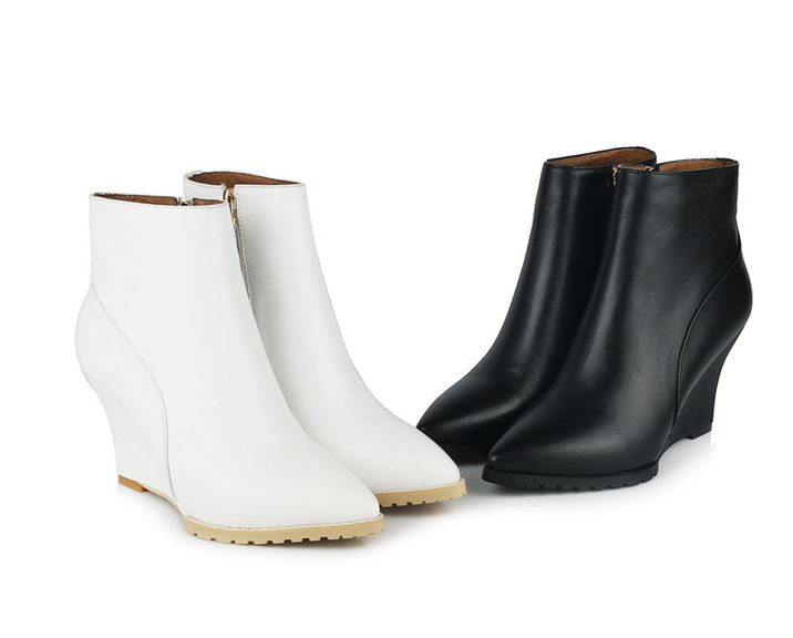 Leather Pointed Toe Zipper Wedge Heel Ankle Boots