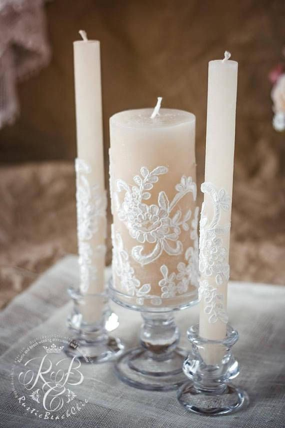 Lace Unity Candle Set, Rustic Wedding Unity Candle, Vintage Unity Candles, Vintage Wedding Ideas, Country Wedding, Unity Candle Holder, 3pcs  👉✅ See full LACE VINTAGE collection ❤ https://www.etsy.com/people/DiAmoreDScollections/favorites/vintage-lace-wedding  👉See these candles on