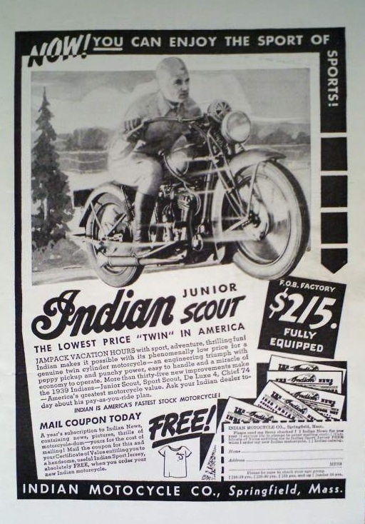 1939 Indian Jr Scout Ad
