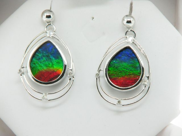 Korite Ammolite Earrings Set With Accent Stones Teardrop