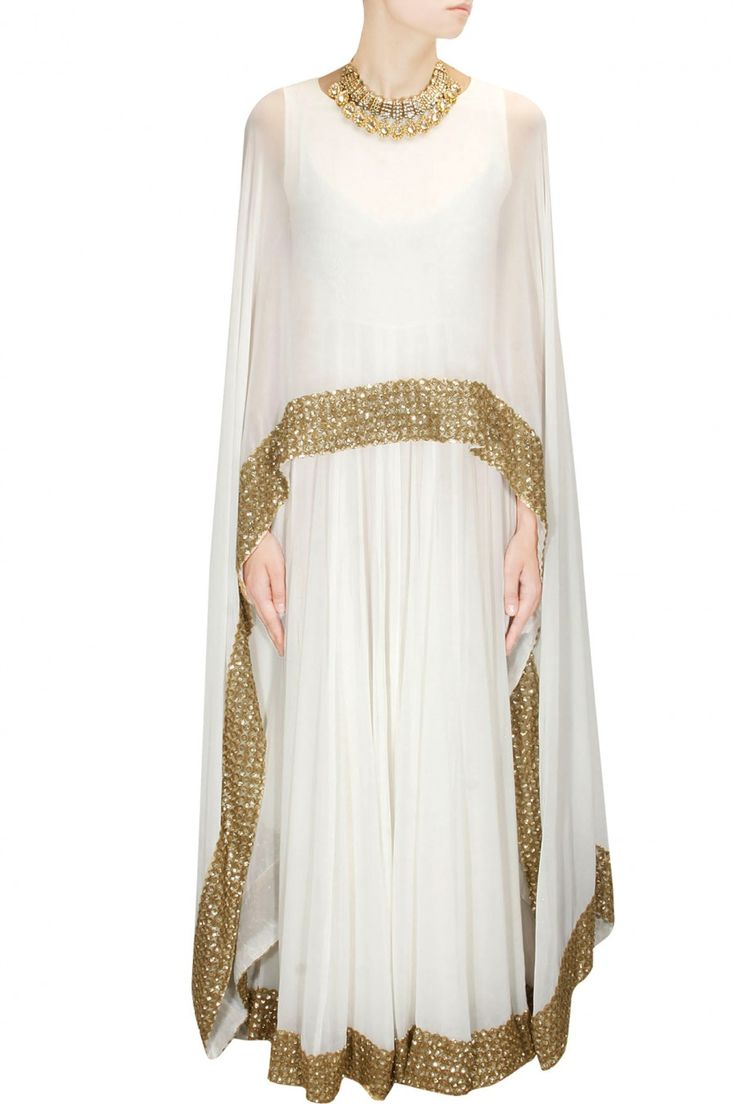 White shimmer embellished border cape gown/anarkali available only at Pernia's…