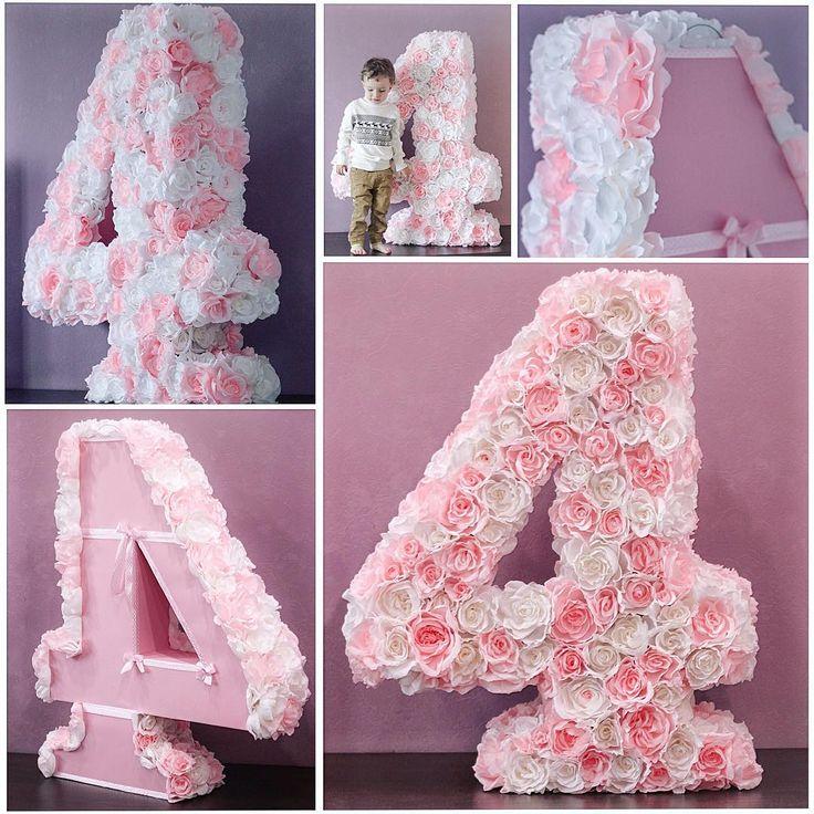 "139 Likes, 56 Comments - Mother • HomeSinger • Designer (@aleksandra_rostova) on Instagram: ""Цифра 4 из бумажных цветов для девочки!  105х85х25см. #цифраизцветов #4birthday #цифраизбумаги…"""