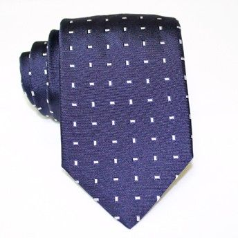 Jacquard tie, 100% silk, blue with classic white microdesign. Ideal for less formal occasions but also special occasions. Pattern and color of this elegant tie can fit with any outfit.
