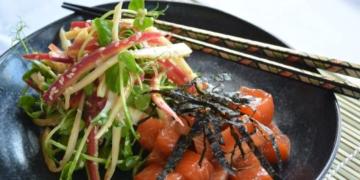Marinated salmon with carrot salad
