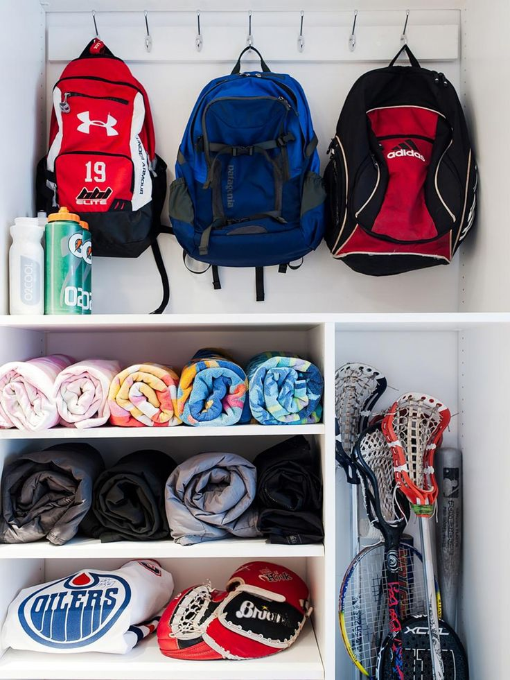 Hooks and shelves in various sizes offer affordable and practical storage for backpacks, gloves, lacrosse sticks and other sports gears.