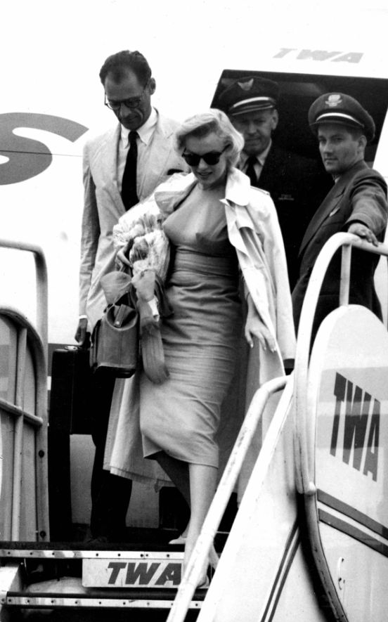 Marilyn Monroe and Arthur Miller arriving in London, 1956