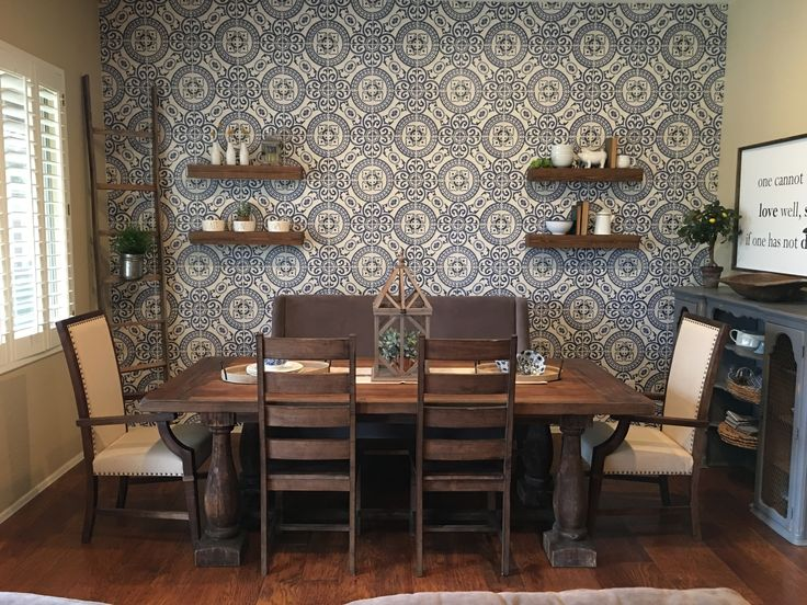 Farm Table Modern Farmhouse Dining Room Tile Wallpaper From Mkwallpapers