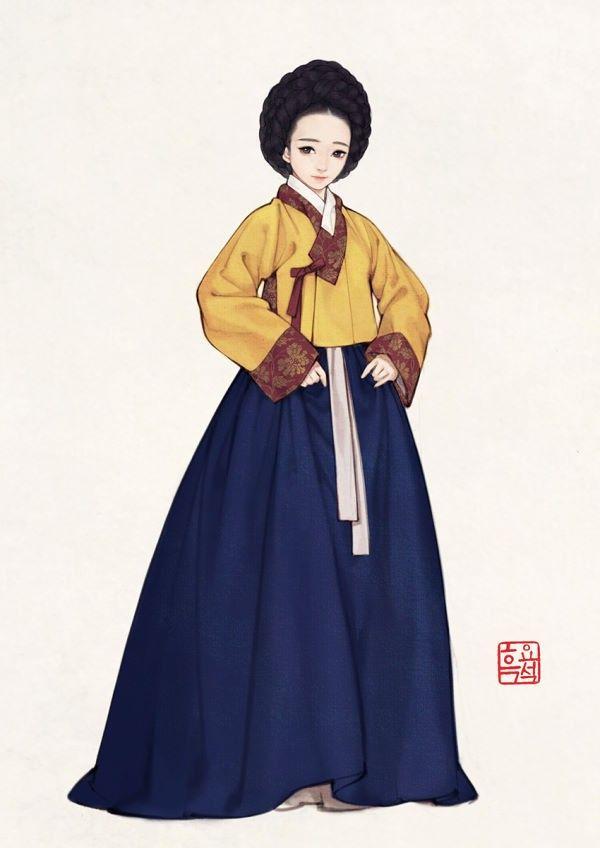 Korean women's garment in 17th century, drawn by Obsidian(흑요석)