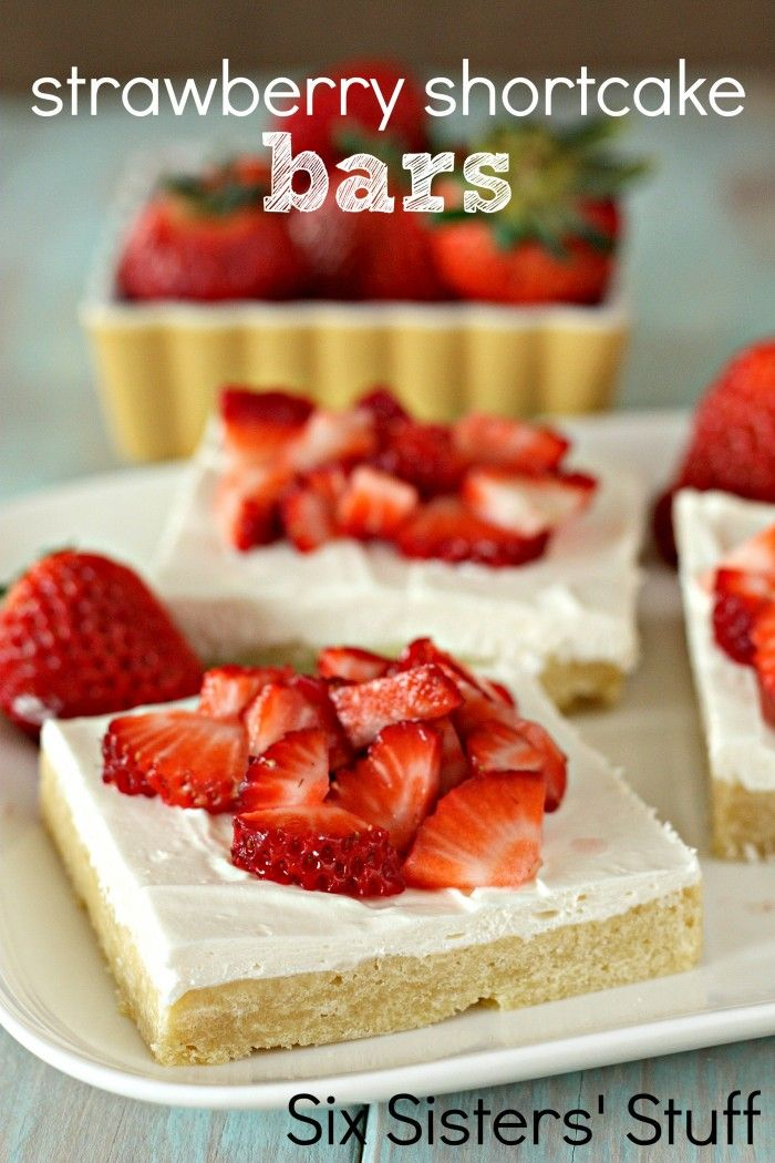 Strawberry Shortcake Bars on SixSistersStuff.com - perfect for BBQ's and potlucks because they make a ton!