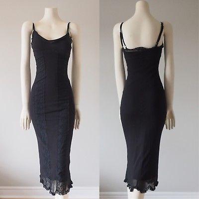 Betsey-Johnson-New-York-Vintage-Black-Mesh-Lace-Slip-Dress-Spaghetti-Strap-Sz-P