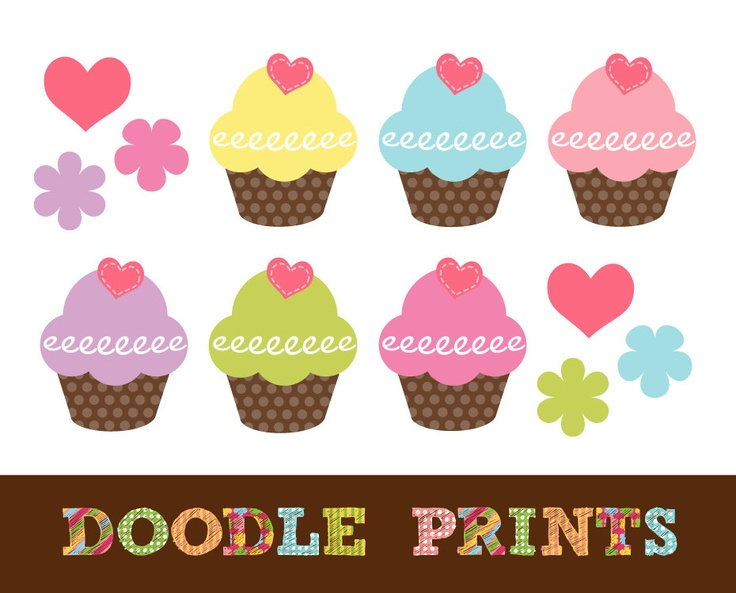 Free Printable Images Of Cupcakes : Cupcake Clipart - Polka Dot Hearts Cupcake Girl Colors ...
