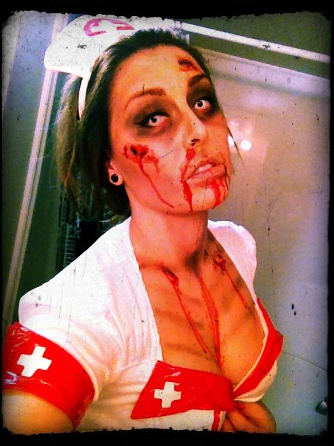zombie Halloween makeup - could do a twist on my nurse costume!