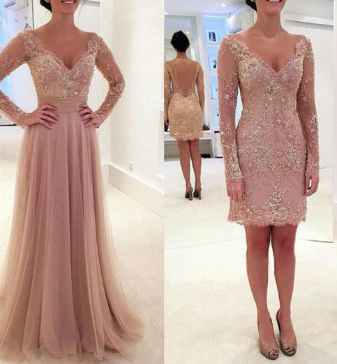 Long prom dress, two piece prom dress, v-neck prom dress, lace prom dress, formal prom dress, modest prom dress, prom dress with long sleeve, occasion dress