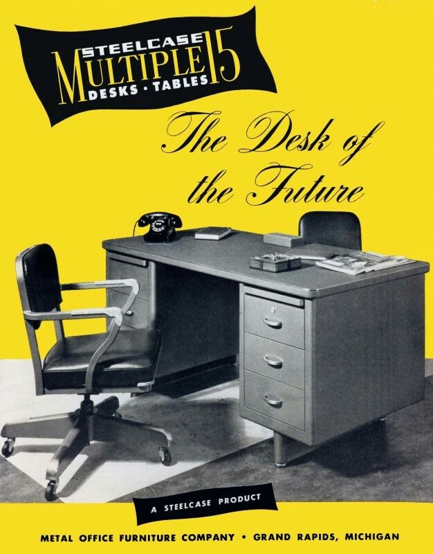 "Steel tanker desk: the ""Multiple 15"" concept introduced by Steelcase in 1946. http://timeline.steelcase.com/#/e/multiple-15-desk-introduced"