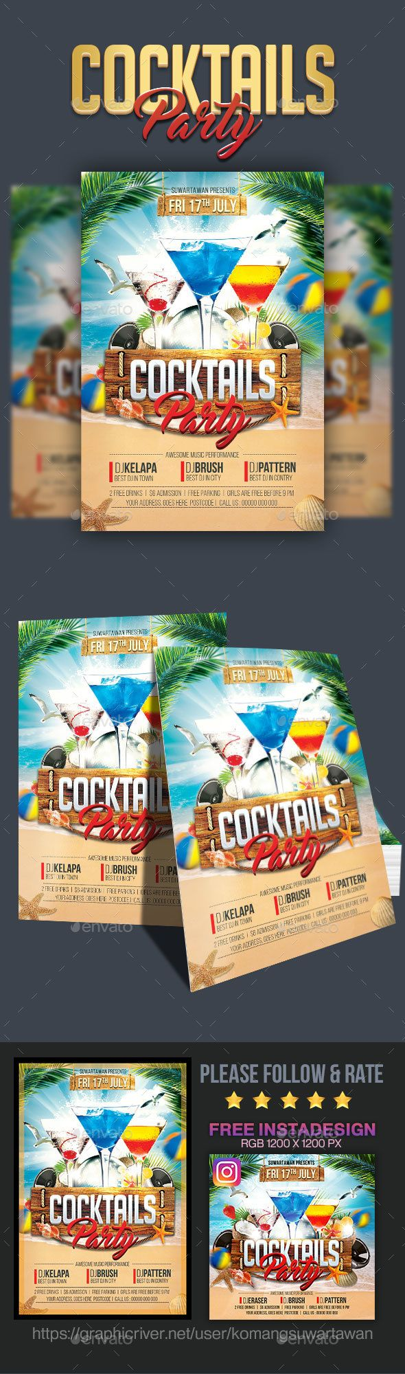 Cocktails #Party #Flyer - Clubs & Parties Events Download here: https://graphicriver.net/item/cocktails-party-flyer/19984600?ref=alena994