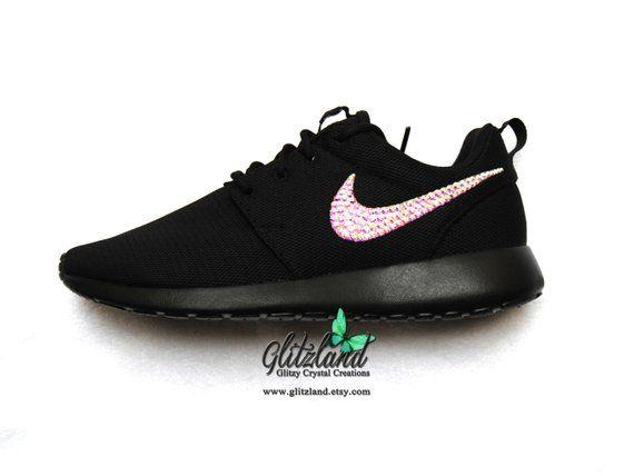 339d870ceeadd Swarovski Nike ALL Black Roshe Run blinged with SWAROVSKI® Crystals   SwarovskiNike  BlingedBlackRoshe  BlingNikeRoshe  RhinestoneShoes   SwarovskiShoes ...