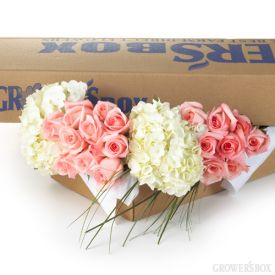 Roses and Hydrangea rank among the most popular wedding flowers. These beautiful flowers go beautifully together and can be found in one affordable package of DIY Wedding Flowers from The Grower's Box. Select your colors, gather your friends and have fun creating masterpieces for your wedding or event!: Hydrangeas Medium, Hydrangeas Small, Wedding Flowers, Small Boxes, Pink Rose, Growersbox Com, Diy Flower, Diy Wedding, White Hydrangeas