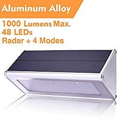 WBESEV Solar Lights Outdoor 1000 Lumens (Max) 48 LED Radar Motion Sensor Light Aluminum Alloy Housing Waterproof Wireless for Outdoor Security Garden Yard Wall Light (5th Upgraded 2017)