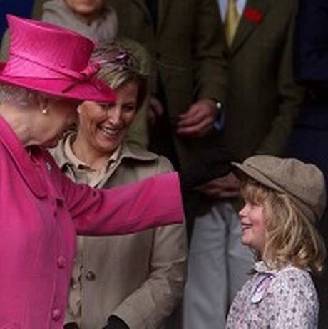 Queen Elizabeth II with her granddaughter, Lady Louise Windsor, and daughter in law, Sophie, Countess of Wessex.