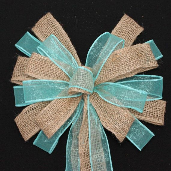 Burlap and Aqua Sheer Wedding Pew Bow by PackagePerfectBows, $10.99