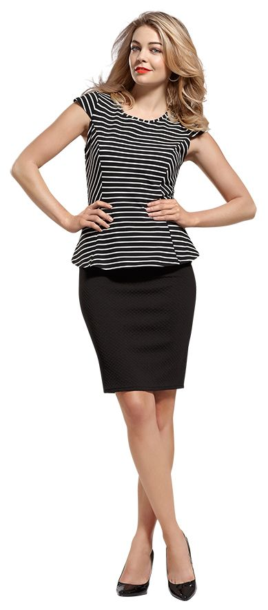 17 Best images about Peplum Top w/Pencil Skirt Outfits on Pinterest | Black knit Curves and ...