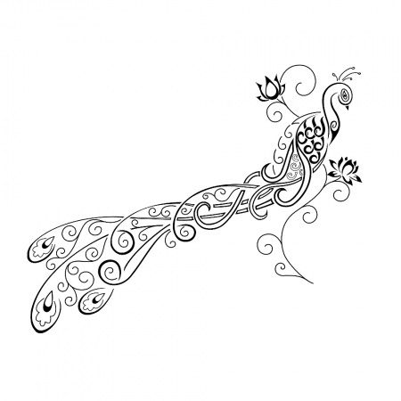 Peacock tattoo - would look awesone coming down a girls side and wrapping toward her back or stomach
