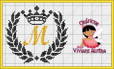 Viviane Alfêna - Gráficos e Bordados: gráfico de ponto cruz de coroa e louros