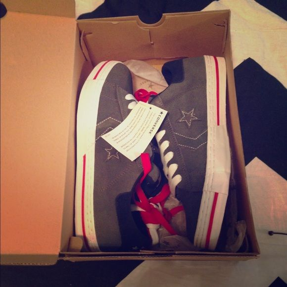 Men's Converse Shoes Brand new in box. Gray, red & white! Converse Shoes